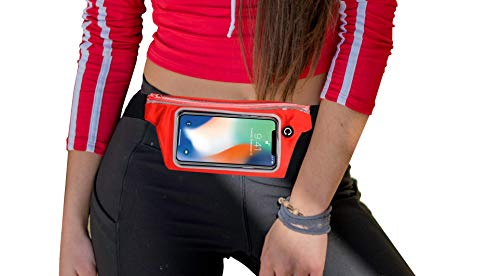 DALIGO Slim Transparent Window Ultra Light Running Belt for Phone Hold Fanny Pack, Best Workout Waist Bag for iPhone X XR 8 7, Galaxy 10s 9 8, Carry Out Money Passport Travel Belt for Men Women.