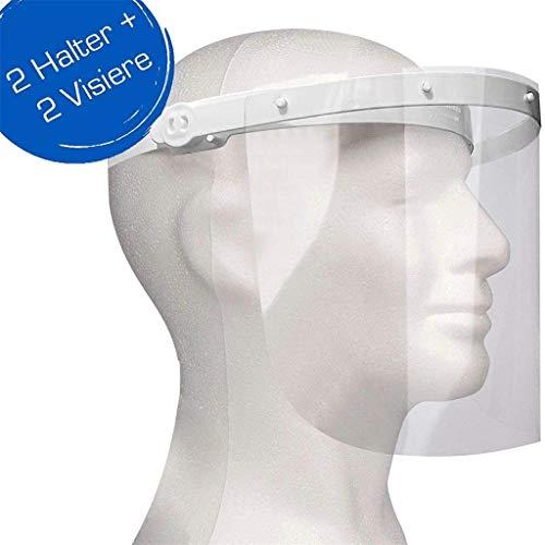Enka Care Gesichtsschutz Visier aus Kunststoff - Augenschutz Spuck-Schutz - Premium Gesichtsschild - CE Zertifiziertes Face Shield (2H - 2V Weiß)