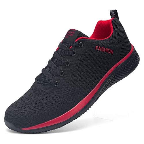 Kefuwu Laufschuhe Damen Sportschuhe Straßenlaufschuhe Sneaker Joggingschuhe Atmungsaktiv Turnschuhe Walkingschuhe Traillauf Fitness Schuhe Outdoor(Schwarz Rot 36)