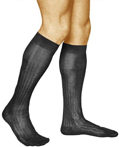 vitsocks Herren Kniestrümpfe Anzug Premium 100 Baumwolle dünn (2x PACK) mercerisierte Faser, schwarz, 44-46