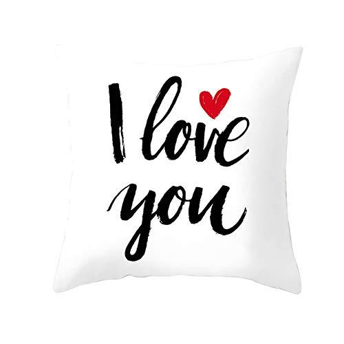 Amody Fundas Cojines Sofa Cuadrado, Cojines Funda 50x50cm I Love You Funda de Almohada Decoración para Hogar Style 30