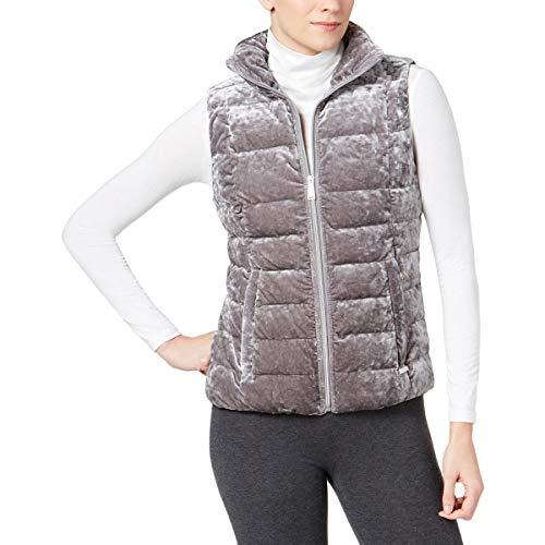 Calvin Klein Damen Weste mit Stehkragen aus Pannesamt - grau - Small