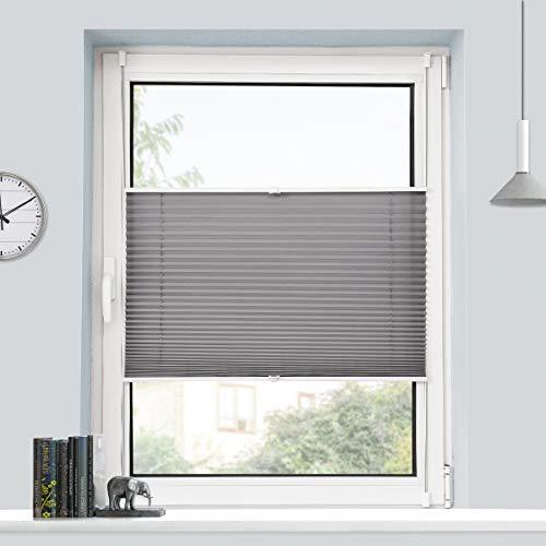 BondFree Plissee Klemmfix Plisseerollo ohne Bohren (35x100cm Anthrazit) Faltrollo Jalousie Sonnenschutz und Sichtschutz für Fenster & Tür