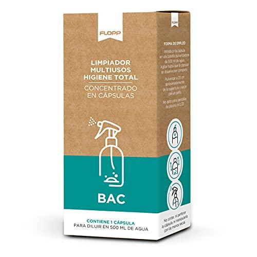 FLOPP - Bac Limpiador Multiusos Concentrado con Poder Higienizante 1 cápsula con Estuche Cartón 100% Reciclado y Reciclable - Formato Refill - Reutiliza tu Botella pulverizadora