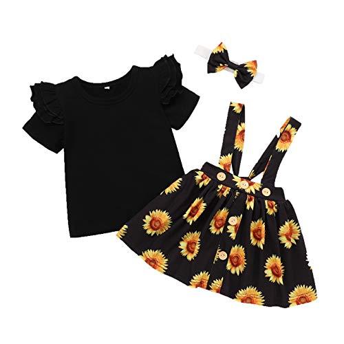 Conjunto de ropa para niña de manga corta, mono con estampado de flores, falda + banda para la cabeza, 3 piezas, cuello redondo de algodón, para primavera y verano en exteriores Negro 6-12 Meses