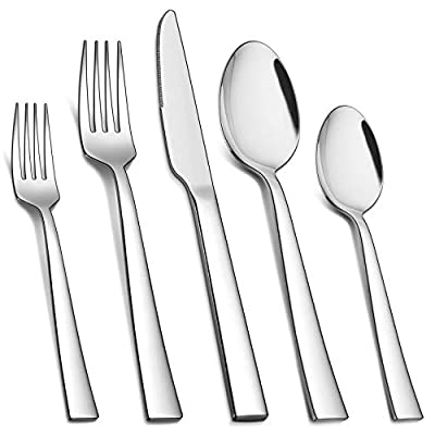 Homikit 60-Piece Silverware Flatware Set, Stainless Steel Square Cutlery Set for 12, Eating Utensils Tableware Include Knife Spoon Fork, Dishwasher Safe