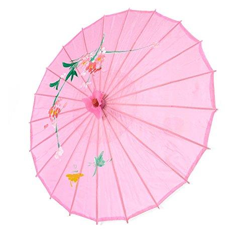 Lyuboov Chinesischer Sonnenschirm aus geöltem Papier, Bambus-Regenschirm, regenfest, handgefertigt, chinesisches geöltes Papier (Pink)