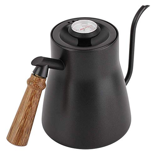 Fdit 850ml Edelstahl-Schwanenhals Teekessel über Kaffee Wasserkocher mit Holzgriff Tropfen (2#)