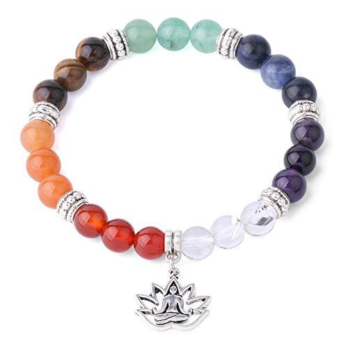 NIDEZHI Chakras Yoga Meditation Healing Balancing Round Stone Beads Stretch Bracelet 8mm Yoga Bracelet