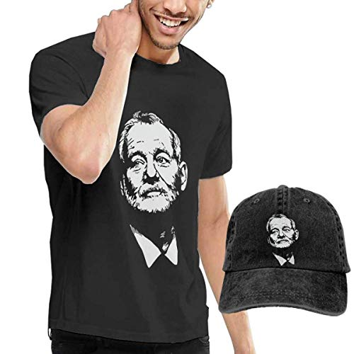 Baostic Herren Kurzarmshirt Bill-Murray T-Shirts and Caps, Black Fashion Sport Casual T-Shirt + Cowboy Hat Set for Men