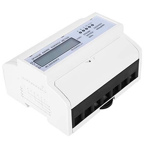 Medidor de energía de riel ligero, enchufe del medidor de potencia 3 x 5 A 3 x 230V / 400V 400IMP / kWh 50Hz PURO DE COBRE Y PLÁSTICO PARA EL RAIL GUÍA LCD trifásico de cuatro cables 7P debajo del