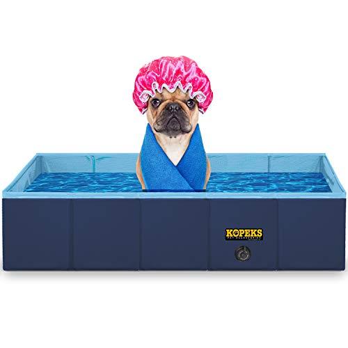KOPEKS Outdoor Rectangular Swimming Pool Bathing Tub - Portable Foldable - Medium - 37