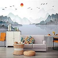 大きなモダンなミニマリストの壁紙、抽象的な中国風、シンプル、エレガント、風景、壁画の背景の壁
