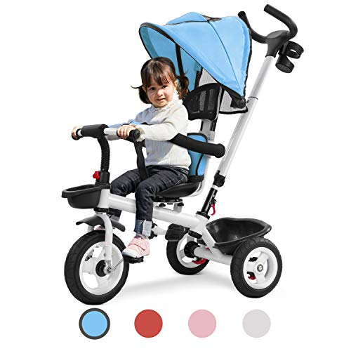 Toddler Tricycle Stroller Trike with Parent Handle for Children 1-5 Years Old, Giant Baby/Boy/Girl Beginner Bike 4 in 1 Trike, 3 Wheels, Push Handle, Toddler Seat, Straps Toddler (Blue)