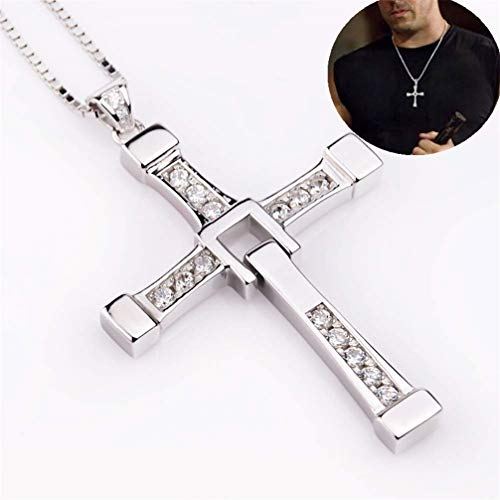 GJ688 Collar de Hombre Plata esterlina 925 Collar de Cruz Colgante de Fast and Furious Dominic Toretto