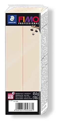 FIMO doll art ofenhärtende Modelliermasse. Großblock 454g (1 lb). Farbe: beige.