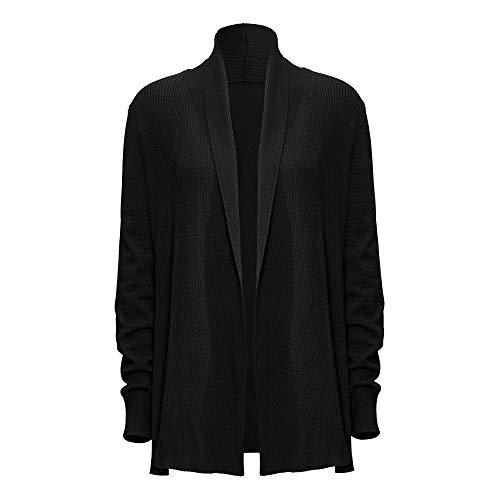 WEWE zwart gebreide jas voor dames, herfst winter lente pullover lange mouwen revers gebreid vest top mantel,40