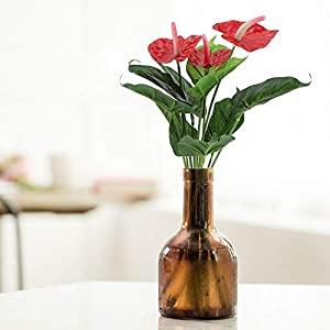Artificial and Dried Flower Plastic Artificial Plant Fake Red Anthurium Flowers Green Potted Bouquet Wedding Indoor Home Garden Office Green Plants Decor