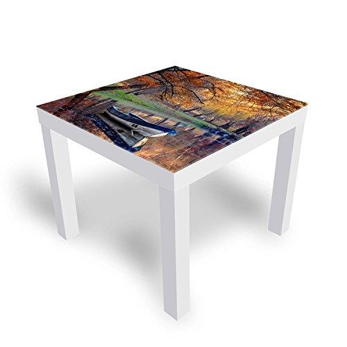 IKEA Lack Beistelltisch Couchtisch 'Herbst Landscape' Sofatisch mit Motiv Glasplatte Kaffee-Tisch von DEKOGLAS, 55x55x45 cm Weiß