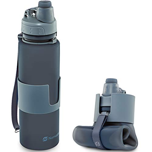 Nomader BPA Free Collapsible Sports Water Bottle - Foldable with Reusable Leak Proof Twist Cap for Gym Travel Hiking Camping and Outdoors - 22 oz (Gray)
