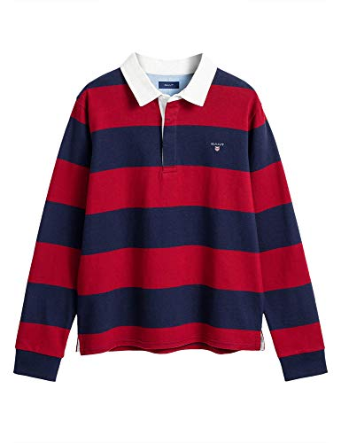 GANT Boys Rugby Polo T-Shirt with Contrasting Stripes Kids' Burgundy in Size 7-8 Years (122-128 cm)