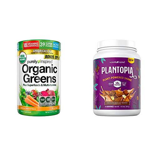 Purely Inspired Organic Greens & Plantopia Chocolate Hazelnut Plant Protein Powder