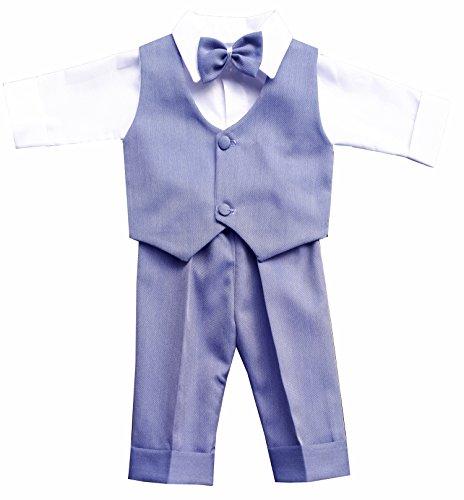deine-Brautmode Taufanzug Festanzug Anzug Weste Hose Hemd Fliege MützeTaufe Baby Set, Gerrit Blau 62
