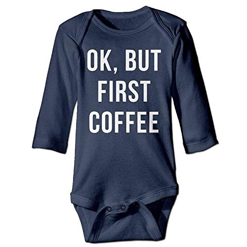 MSGDF Unisex Infant Bodysuits OK But First Coffee Baby Babysuit Long Sleeve Jumpsuit Sunsuit Outfit Navy