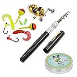 Jatzde Portable Mini Telescopic Pen Fishing Rod Reel Combo Set —— Pocket Fishing Rod Pole + Reel Aluminum Alloy + Fishing Line + Soft Lures Set(Black) …