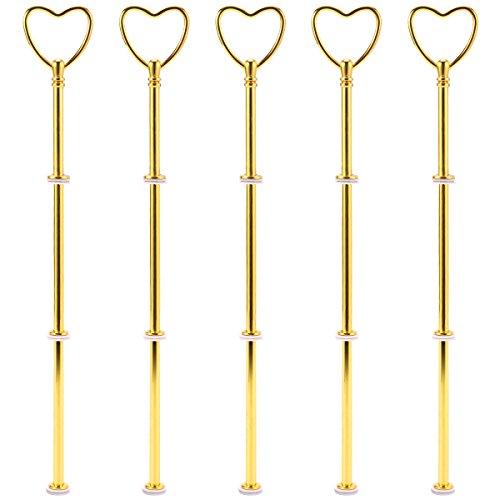 5 Set Metallstangen Mittellochausstech Gold Herz Motiv für 2 bis 3 Etagen Etageren Hochzeitstorte Tortenständer 32cm