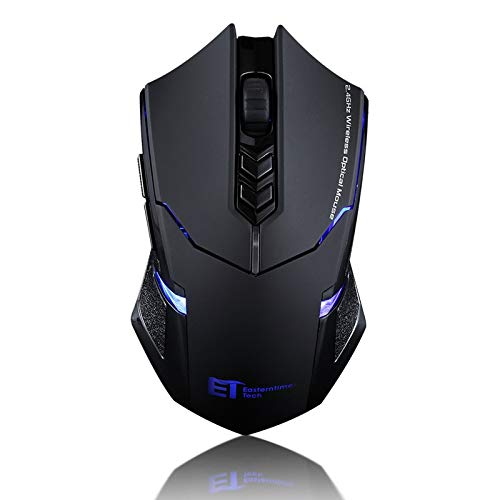 Gaming Mouse WWY 2.4G Wireless Portable Mobile Mouse Optical Mice with USB Receiver, 5 Adjustable DPI Levels, Silent mouse,7 Buttons for Notebook, PC, Macbook (Color : Black)