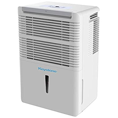 Keystone KSTAD50B Energy Star 50-Pint Portable Dehumidifier for 3000 Sq. Ft. with 6.4-Pint Bucket Capacity and Full Bucket Alert, White