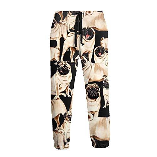 QUEMIN Pug Life Funny Dogs Cute Pugs Hombres Pantalones Deportivos Pantalones Deportivos Divertidos con cordón 3XL