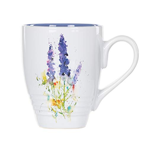 DEMDACO Dean Crouser Lavender Flower Watercolor Blue 16 Ounce Glossy Ceramic Stoneware Floral Mug with Easy Grip Handle