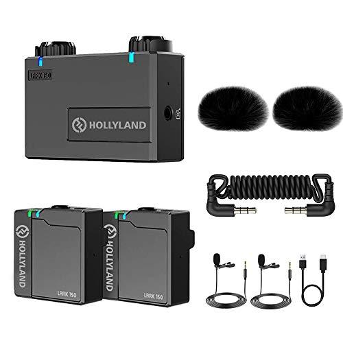 Hollyland Lark 150 Mini Microfono Kit Sistema Microfonico Lavalier Wireless 2.4G Latenza di 5 ms con Portata Stabile di 100 m per Telefoni Cellulari Fotocamera DSLR
