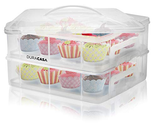 DuraCasa Cupcake Carrier, Cupcake Holder - Store up to 24 Cupcakes or 2 Large Cakes | Stacking Cupcake Storage Container | Cupcake, Cookie, or Cake Dessert Carrier (White)