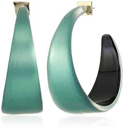 Alexis Bittar Womens Wide Graduated Medium Hoop Earrings, Teal Blue