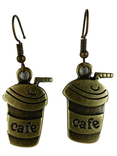 Ohrringe Ohrhänger Hänger messingfarben Kaffee Becher Kaffe Cafe Bistro Restaurant 7688