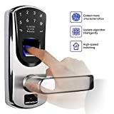Ardwolf A60 Biometric Door Lock, Keyless Entry Fingerprint and Keypad Electronic Smart Locks with Backup Keys for Homes Front Door, 304 Stainless Steel US TI chip (Irreversible Right-Handle)