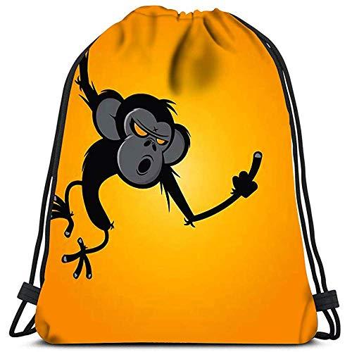 wallxxj Cinch-Taschen Sporttaschen Cinch-Tragetaschen Verärgerter AFFE, Der Mittelfinger Für Reisen Und Lagerung Zeigt Kordelzugbeutel Kordelzugrucksack Daypack Cinch-Taschen Freizeitreisen