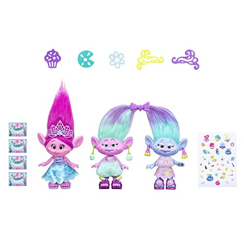 Product Image of the Dreamworks Trolls Poppy & Twins Celebration Pack, 3 Dolls 9' Tall with Outfits,...