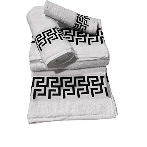 Toallas de baño en Blanco/Negro ,Set 3 Piezas Cenefa 100% algodón Portugués ,Gran absorción, 500g.