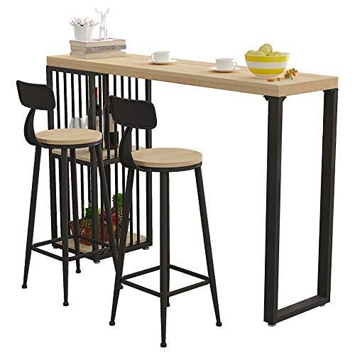 Chyuanhua Bar Tafel Metalen Frame Pedalen Keuken Tafel En Ontbijt Bar Eettafel En Licht Eiken Koffietafel Geschikt voor Bars