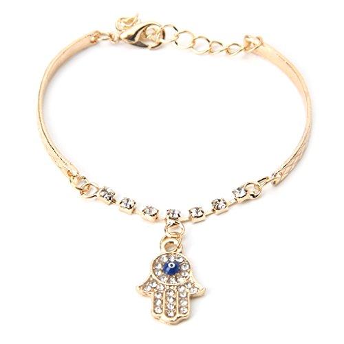 VVXXMO Bracelet porte-bonheur plaqué or pour femme et homme, chaîne tendance contre le mauvais œil, strass