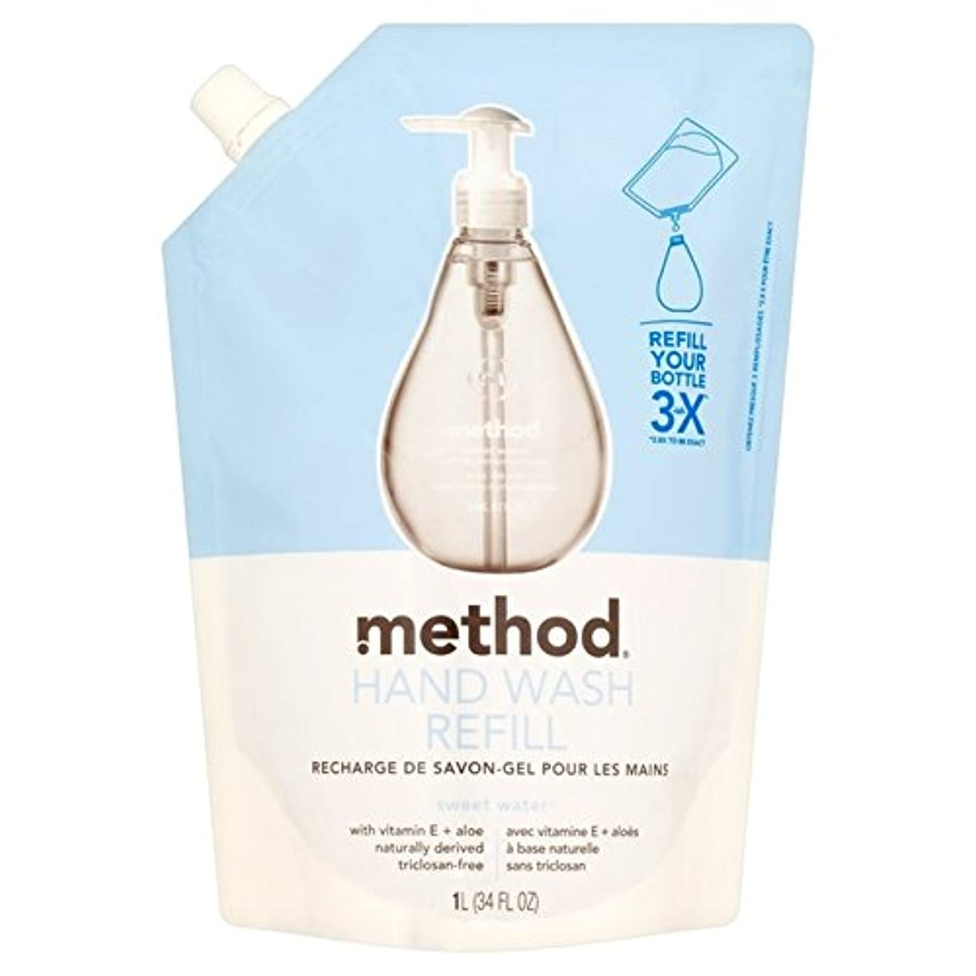 皮肉な満足できる文房具メソッドの甘い水のリファイルの手洗いの1リットル x4 - Method Sweet Water Refil Handwash 1L (Pack of 4) [並行輸入品]