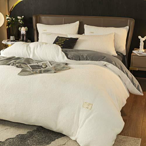 NZBZ Juego de cama de terciopelo de cordero, de cuatro piezas, terciopelo de coral cálido terciopelo franela de invierno