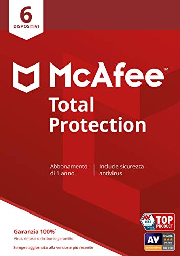 McAfee Total Protection 2020, 6 dispositivi, 1 anno, Software antivirus, sicurezza Internet, gestore delle password, sicurezza mobile, multi-dispositivo, PC/Mac/Android/iOS, Edizione Europea, Download