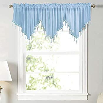 WUBODTI Blue Kids Room Sheer Beaded Valance Curtains 3 Pieces Kitchen Cafe Voile Tulle Rod Pocket Swag Window Curtain Valances with Beads for Bedroom Bathroom Nursery Living Room 51 x 24 Inch Length