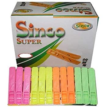 Sinco Super Cloth Clips Pegs Multicolor - Pack of 5 (60 Pieces)