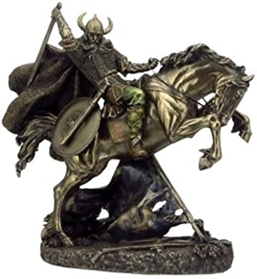 10.62 Inch Viking Raising Sword on Rearing House Figurine Statue